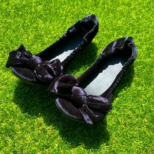 Vagabond Black Velvet Bow Flats 🌿